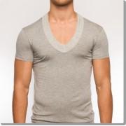 Modus Vivendi Pure Low V Neck Short Sleeved T Shirt Grey 17041