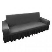 Husa elastica bicolora/gofrata cu bumbac cu volan pentru canapea 3 locuri TRADE STORE DELIVERY Bumbac si Poliester Gri inchis