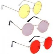 Phenomenal Round Sunglasses(Yellow, Pink, Red)
