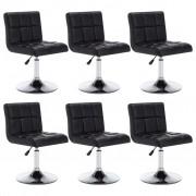 vidaXL Въртящи се трапезни столове, 6 бр, черни, изкуствена кожа