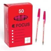 Pink Focus Ball Pens - 50 ballpoint pens. 1mm nib with line width of 0.7mm.
