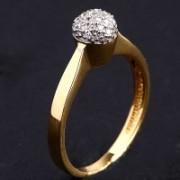 Anel Solitário com Ouro Amarelo e Ouro Branco com 22 Diamantes de Meio Ponto Cada