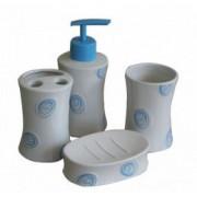 Set baie portelan 4 piese dozator sapun sapuniera suport periute dinti pahar cu buline albastre