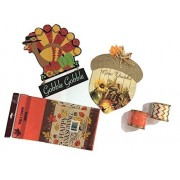 Thanksgiving Decorations Bundle - Give Thanks Acorn - Gobble Gobble Turkey - Celebratory TABLECOVER - Festive Ribbons by Greenbrier