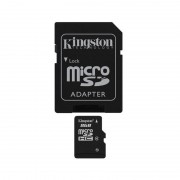 Card de memorie Kingston microSDHC, Clasa 4, 8GB + adaptor SD