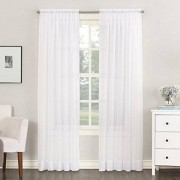 "No. 918 No: 918 Emily Panel de cortina de gasa transparente con bolsillo para barra, Blanco, 59"" x 108"", 1 unidad"