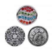 Quiges - Chunk 18mm Click Button Drukknoop Set van 3 Stuks Klassiek Regenboog Zilverkleurig - EBCMSET029