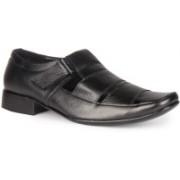 Leather King Baker Black Slip On For Men(Black)