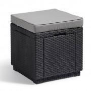 Allibert Табуретка - куб с място за съхранение, цвят графит, 213785