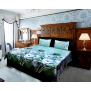 Beautiful flowers printed double bed sheet with 2 pillow covers(908)