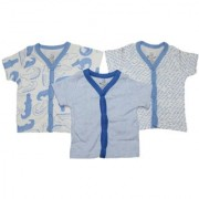 Krivi Kids Blue Color Set of 3 Front Open Half Sleeve Cotton Top For Baby Boys And Baby Girls .