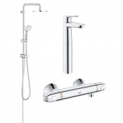 Pachet coloana dus Grohe New Tempesta 200, crom, montare pe perete, plus baterie termostat Grohtherm 1000 New, plus baterie lavoar blat Grohe BauEdge, marimea XL (27389002, 34143003, 23761000)-Div-200-Gro23