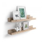 Mobili Fiver Par de estantes para cuadros, modelo First, 60 cm, Encina