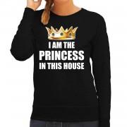 Bellatio Decorations Koningsdag sweater Im the princess in this house zwart dames 2XL - Feesttruien
