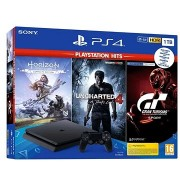 PlayStation 4 Slim 1TB + 3 játék (GT Sport, Uncharted 4, Horizon Zero Dawn)