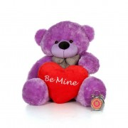 4 Feet Purple Big Bow Teddy Bear holding Be Mine heart