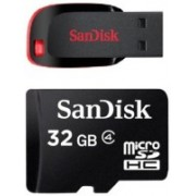 SanDisk 32 GB Micro SDHC Class 4 and Cruzer Blade 16 GB Pen Drive(Multicolor)