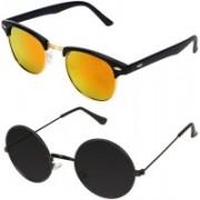 Royalmede Clubmaster, Round Sunglasses(Multicolor, Black)