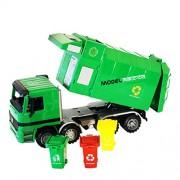 YeahiBaby Children Garbage Truck Sanitation Trucks Toy Car Model with Trashcan (Green)