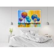"Tablou canvas cu rama ""reproducere pictura copaci colorati"" - cod X03"