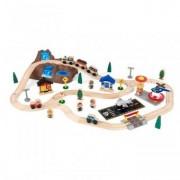 Trenulet din Lemn cu Set de Accesorii Happy Kid - Top Mountain