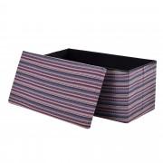 [en.casa]® Összehajtható szövet kötött puff - ülőke / lábtartó tárolórekesszel (76x38cm) lilás