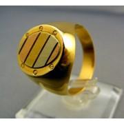 Zlatý pánsky prsteň z viacfarebného zlata oválny tvar VP64730V