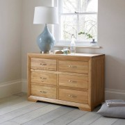 Oak Furnitureland Natural Solid Oak Chest of Drawers - Chest of Drawers - Bevel Range - Oak Furnitureland