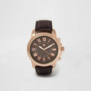 River Island Mens Dark Brown and rose gold round face watch