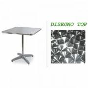 MondoArreda Q70 -Mesa De Aluminio Cuadrada, Con Soporte Central Con 4 Patas, Encimera 70x70cm Para Bar, Restaurante, Piscina, Hotel