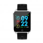 Microwear X9 szögletes vízálló okosóra pulzusmérővel - fekete-szürke