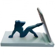 Onlineshoppee Wooden Unique Design Mobile Tablet Ipad Stand - Sky Blue