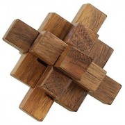 Desi Karigar Handmade Wooden Crystal IQ Teaser Puzzle - 3D Magic Game Mini Cross For Children - Unique Kids Gifts