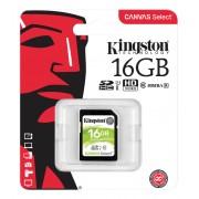 Kingston Canvas Select SDHC-kort, 16GB, UHS-I Klass 10, svart