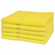 vidaXL 5 db sárga 100% pamut kéztörlő törölköző 360 g/m² 50 x 100 cm