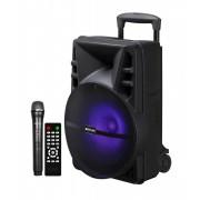"""Astrum TM140 """"Trolley"""" hordozható bluetooth hangszóró 15.0"""", 40W, FM, USB, MicroSD, színes LED világítás, távirányító, mikrofon"""