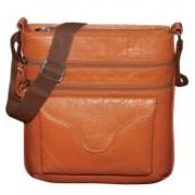 Kan Genuine Leather Messenger Bag/Travel Pouch/Sling Bag for Men & Women 7 L Backpack(Tan)