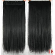 Osking Straight Full Head Synthetic Fibre Clip In Hair Extensions 5 Clips Based 24 Inch - For Women And Girls - Feel Like Real Hairs - Premium Quality (Natural Black)