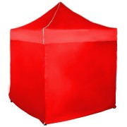 Rýchlorozkladací nožnicový stan 2x2m – oceľový, Červená, 4 bočné plachty