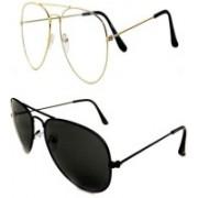 Barbarik Aviator Sunglasses(Black, Clear)