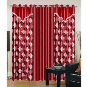 Iliv Marron Box Vlace Curtains Combo Set Of 3- 5Ft