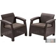 Curver Corfu duo fotel szett barna / meleg szürkésbarna színben CRV-223194
