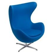Design Town Niebieski Fotel JAJO Wełna Naturalna Inspirowany Projektem Egg Chair Sklep z meblami DesignTown
