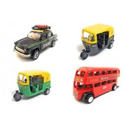 Combo of 4 Vehicle Toys | Ambassador Taxi, Auto Rickshaw, Auto Rickshaw and Double Decker Bus (Mini, Small Size) Toy for kids |Toys for Show piece | Miniature/Model Car Toys |Pull back and Go | Openable Doors | Black, Green, Black and Red Color, Set of 4