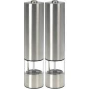 2x Elektrische peper- en zoutmolen met verlichting RVS - Keukenbenodigdheden - Pepermolens - Zoutmolens