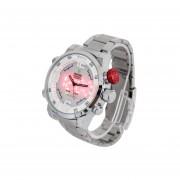 WEIDE WH2309 Hora Analógica Reloj LED Fecha Mostrar Alarma 30m Impermeable Del Acero Inoxidable Del Reloj Del Deporte De La Correa De Cuarzo Para Los Hombres (Plateado + Blanco)