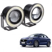 Auto Addict 3.5 High Power Led Projector Fog Light Cob with White Angel Eye Ring 15W Set of 2For Maruti Suzuki New Swift Dzire 2017