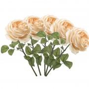 Geen 5x Perzik roze rozen kunstbloemen 66 cm