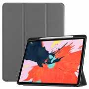 For iPad Pro 12.9-inch (2018) PU Leather Tri-fold Stand Tablet Flip Cover [with Pen Slot] - Grey