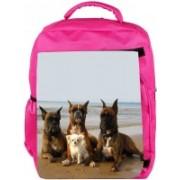 Snoogg Eco Friendly Canvas Dog'S Make Friends Backpack Rucksack School Travel Unisex Casual Canvas Bag Bookbag Satchel 5 L Backpack(Pink)